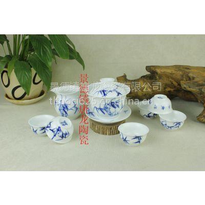 中秋节礼品手绘茶具 手绘青花瓷茶具套装