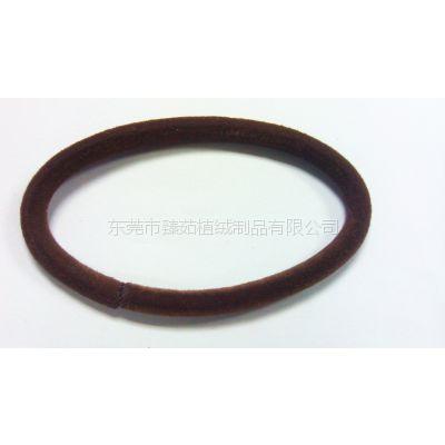 东莞臻茹植绒厂提供供应头饰品发带松紧头绳产品多色植绒毛加工