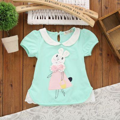 外贸童装 2015夏季新款 韩版女童白兔纯棉短袖小童T依之王童装