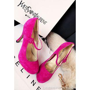 2015新款淘宝热销小辣椒同款女鞋精致女人情调磨砂皮搭扣高跟鞋