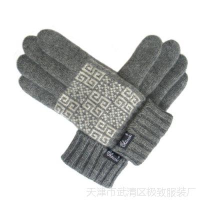 爆款热卖秋冬新品简约男士毛线手套 保暖加厚双层纯羊毛提花