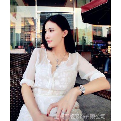 刘钰懿同款2015春夏新款长袖V领刺绣蕾丝白色真丝连衣裙A字裙女