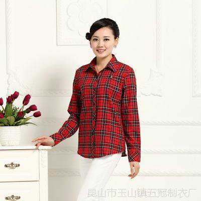厂家直销2015春装新款上衣衬衫纯棉长袖女妈妈中老年人大码格子衫
