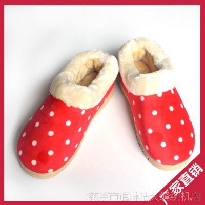 冬季加厚毛绒保暖圆点男女情侣家居拖鞋 地板防滑包跟月子棉拖鞋