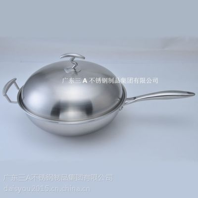 哈尔滨锅具贴牌代加工厂 不锈钢炒锅定制 三层钢炒锅贴牌