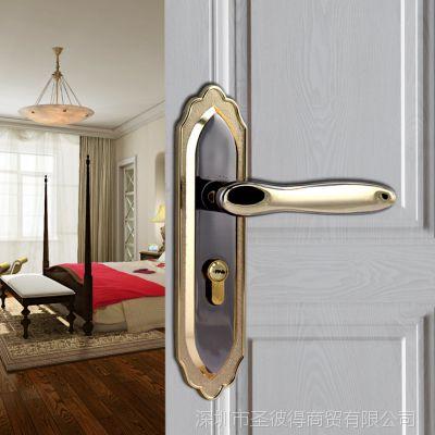 枪黑金室内钢木门锁房门卧室轴承消静音执手门锁具