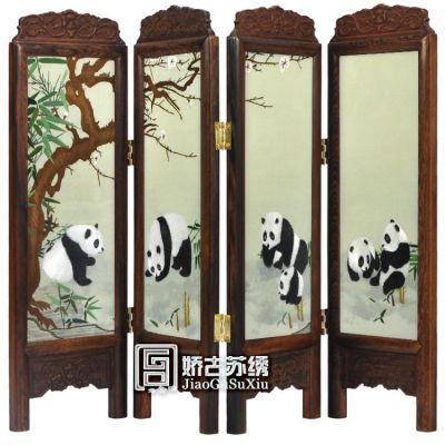 供应苏绣熊猫 小屏风 桌面摆设 娇古苏绣 礼品 国宝大熊猫 动物图案