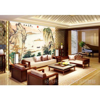 丽源大型壁画 无纺布墙纸壁纸 现代中式风景山水 电视客厅背景墙
