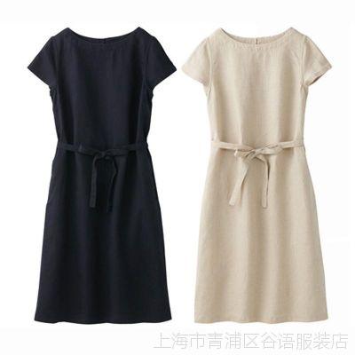 外贸日本原单女装 高端良品亚麻文艺简约短袖圆领 腰带收腰连衣裙