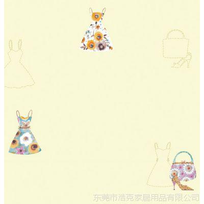 韩国进口  时尚女王卡通裙子黄色粉色PVC墙纸  儿童房女孩房满铺