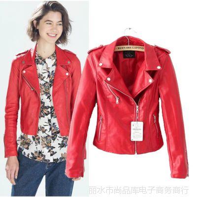 F11830尚品库欧美风翻领长袖红色PU皮机车夹克 女装外套上衣