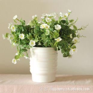 鸟与花家 家居花艺套装  欧式白色陶瓷花瓶+4束海棠仿真花 三色选