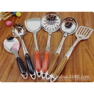供应 3厘无磁木纹夹柄厨具 不锈钢烹饪铲勺七件套 精美厨房礼品