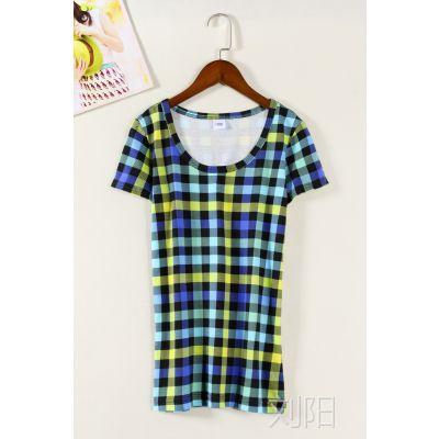 日韩外贸原单批发尾货出口成衣大码女装夏棉格子圆领短袖T恤F711