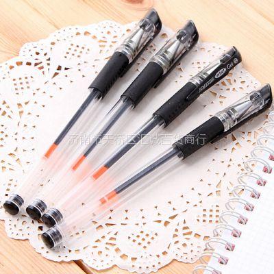 济南批发定做签字笔 广告赠品中性笔印字 透明杆 黑色杆等