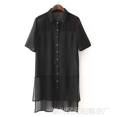 2015夏季新款欧美风时尚不规则摆翻领短袖女式衬衫雪纺衫XZWM-H