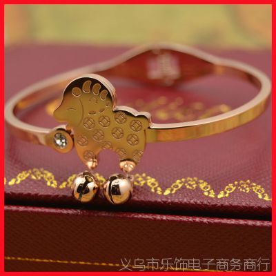 2015羊年本命年18k玫瑰金绵羊手镯 女 铜钱小羊铃铛手镯手链礼物