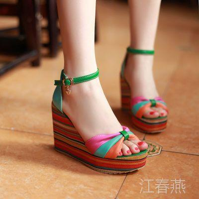 2013小额批发时尚爆款糖果色性感坡跟高跟女凉鞋 民族风高跟鞋F-5