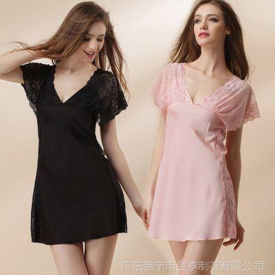 睡裙女夏季短袖裙仿真丝质夏天性感睡衣女蕾丝绸公主浴睡袍3660