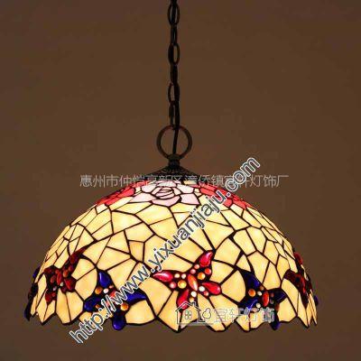 供应欧式品牌精品琉璃艺术灯具酒吧墅卧室精品暖色单头餐吊灯D16026C