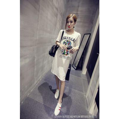 【小颖家】2015夏装新款韩版百搭宽松圆领字母印花中长款T恤衫女