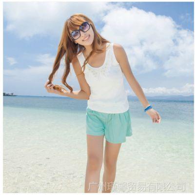 供应2014夏季新款韩版娃娃领钉珠 小背心修身打底衫
