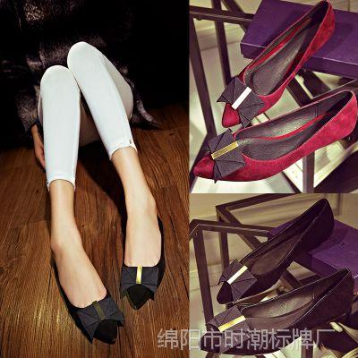 外贸欧洲站春季女单鞋 欧美风尖头平跟女鞋 一件代发加盟女鞋子