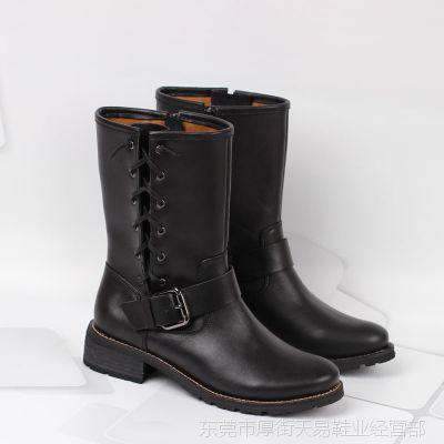 厂家批发 欧美2014秋冬新款 头层牛皮 中筒靴 低跟真皮女靴子