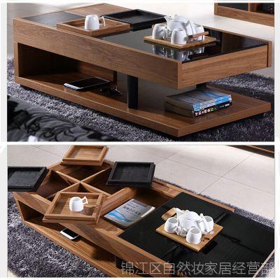 板式家具批发多功能创意茶几 钢化玻璃四茶盘简约时尚收纳柜特价图片