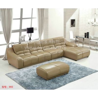 供应广东沙发厂盈冠家具客厅系列简约风亮光皮真皮沙发