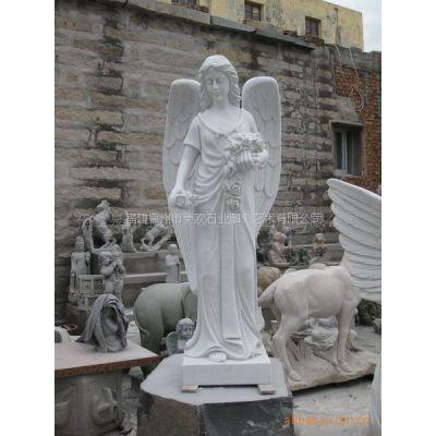 供应石雕石料工艺品-汉白玉西方人物雕刻-欧式天使雕刻品