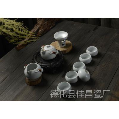 批发供应开片正品汝瓷茶具 高档仿宋汝窑茶具套装 陶瓷功夫茶具