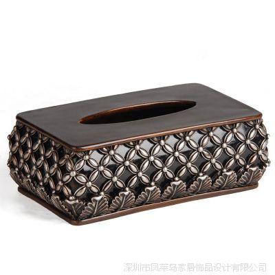 供应欧式风格树脂工艺品 家居摆设饰品 高雅优雅艺术纸巾盒