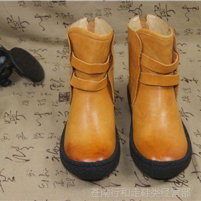 原创个性短靴进口头层真皮女鞋秋冬女靴子文艺复古手工小牛皮鞋