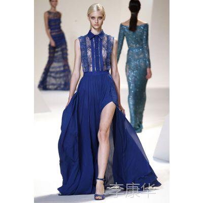 现货特批2013夏大牌女装 欧美明星款高开叉长裙蕾丝拼真丝连衣裙