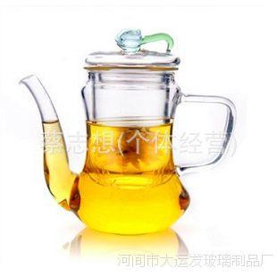 耐热玻璃茶壶/功夫茶具/贵妃壶/300ml/纯手工/造型花茶壶
