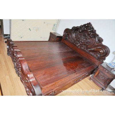交趾黄檀大床 老挝大红酸枝家具  红木家具批发 1.8米大床