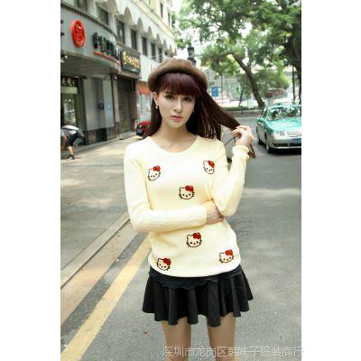 2014韩版新款秋装圆领绣花可爱小清新学院风打底衫薄毛衣