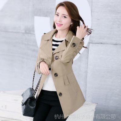 2015秋装新款女装韩版风衣外套修身显瘦翻领中长款风衣女大衣