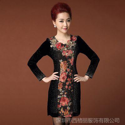 西格丽一件代发长袖金丝绒女装网店代理重工绣花烫钻优雅连衣裙