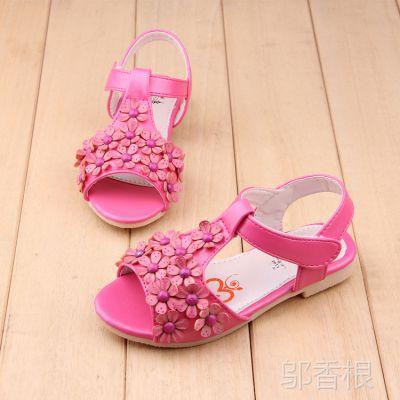 2015夏季新款儿童凉鞋小花朵露趾女童凉鞋公主鞋宝宝鞋凉拖鞋