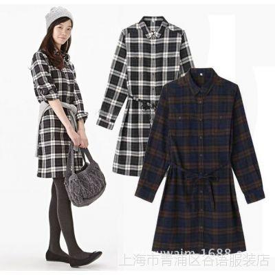 日本原单外贸 文艺女款法兰绒纯棉磨毛长袖收腰带格子衬衫连衣裙