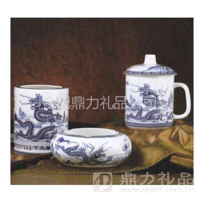 【合肥青花瓷商务套件】合肥陶瓷茶具套装批发定制印logo