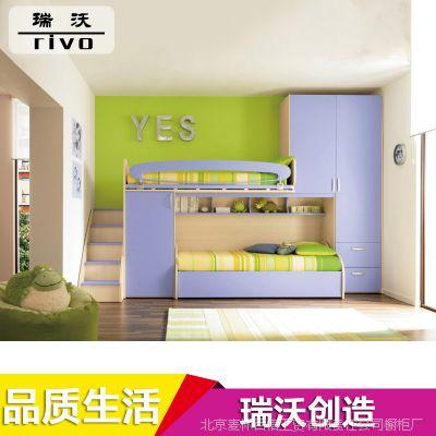 专业供应 简约现代儿童卧室板式床 亮光多功能板式床批发