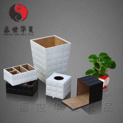 供应供应酒店用品 皮质垃圾桶 纸巾盒 高档酒店用品 深圳皮具厂家直销