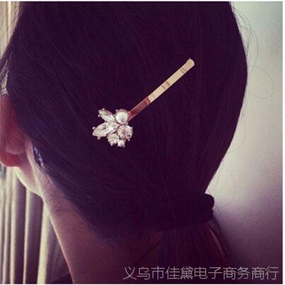 T005 时尚韩版饰品 梨花水晶珍珠个性边夹发卡