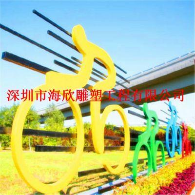 热卖树脂玻璃钢彩绘抽象骑自行车人物雕塑 户外园林公园小区摆件
