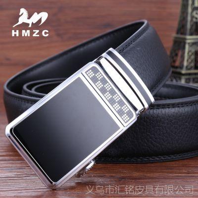 HMZC 品牌简约时尚自动扣男士商务腰带 批发 二层皮男士皮带