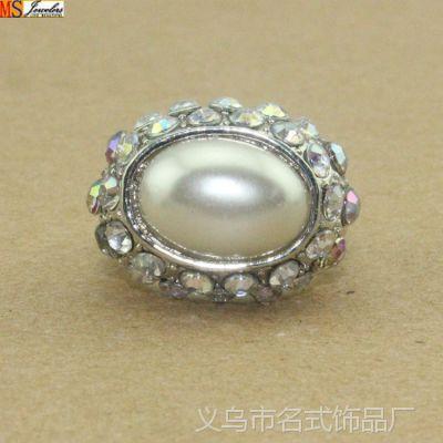 名式饰品批发仿真首饰欧美流行满钻镶珍珠戒指厂家直销满包邮