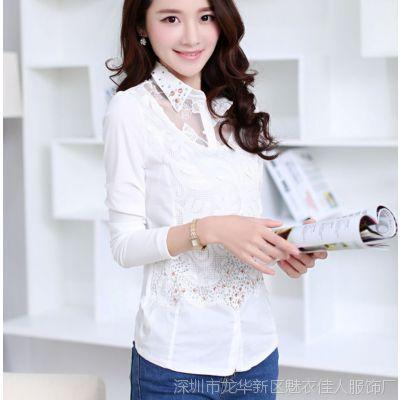 精品长袖衬衫女打底韩版潮修身上衣蕾丝绣花白色衬衣2015春装
